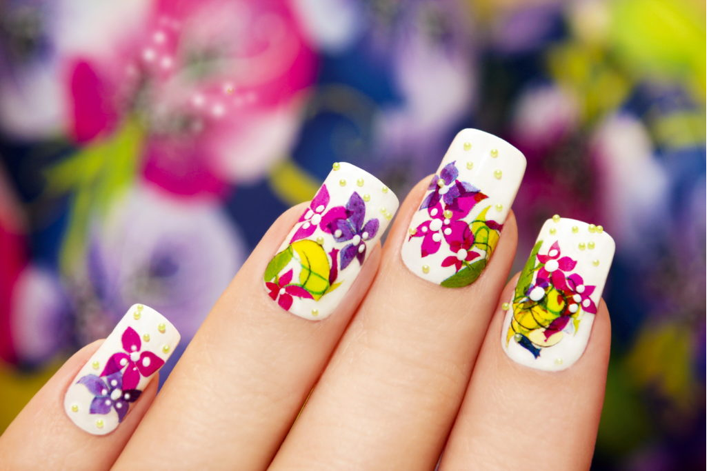 Pull-Off Colourful Floral Nail Design
